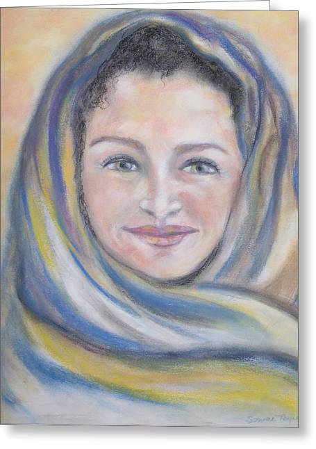 Catholic Pastels Greeting Cards - Magdalena Greeting Card by Suzanne Reynolds