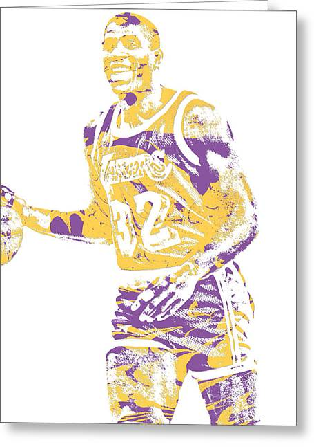 Magic Johnson Los Angeles Lakers Pixel Art 5 Greeting Card