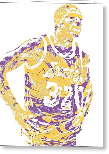 Magic Johnson Los Angeles Lakers Pixel Art 6 Greeting Card