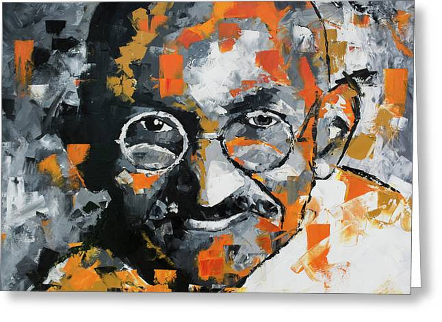 Greeting Card featuring the painting Mahatma Gandhi by Richard Day