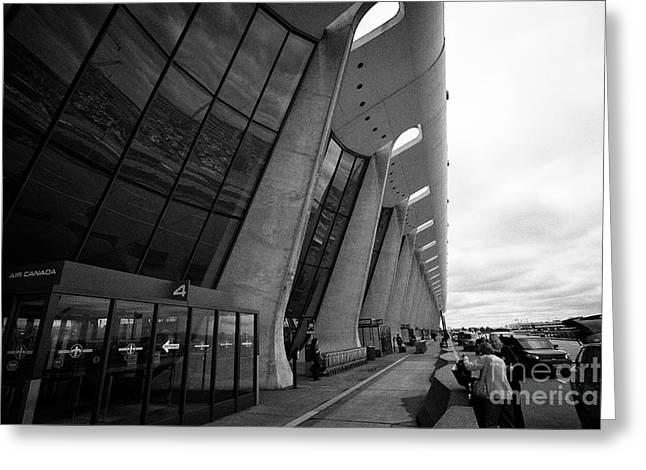 main terminal building exterior check in area Dulles international airport serving Washington DC USA Greeting Card