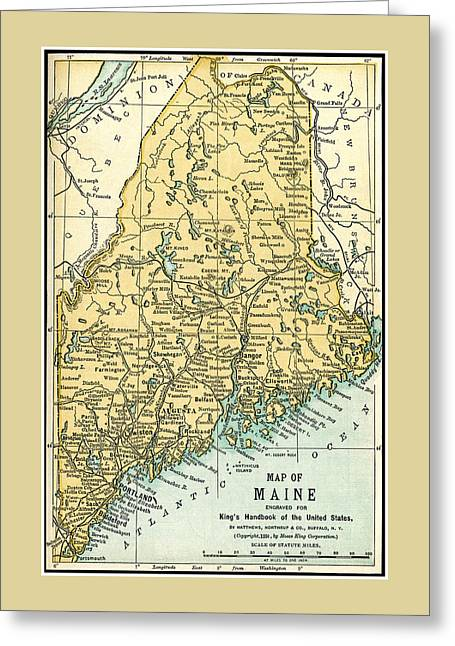 Maine Antique Map 1891 Greeting Card