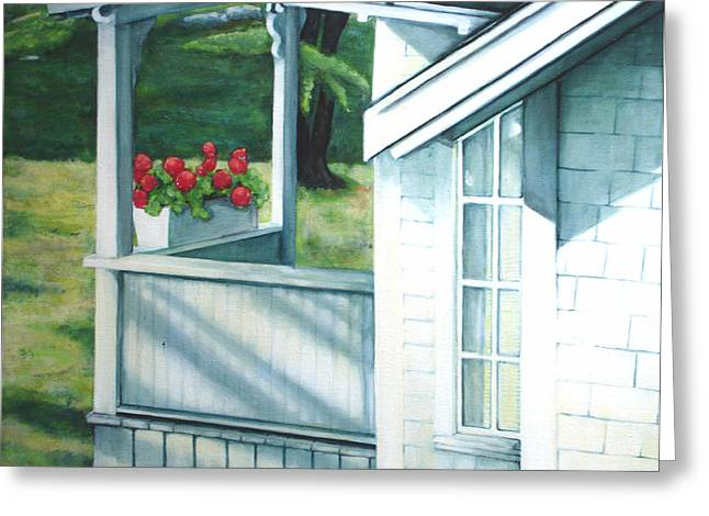 Maine Porches Number One Greeting Card by Leo Malboeuf