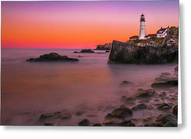 Greeting Card featuring the photograph Maine Portland Headlight Lighthouse At Sunset by Ranjay Mitra