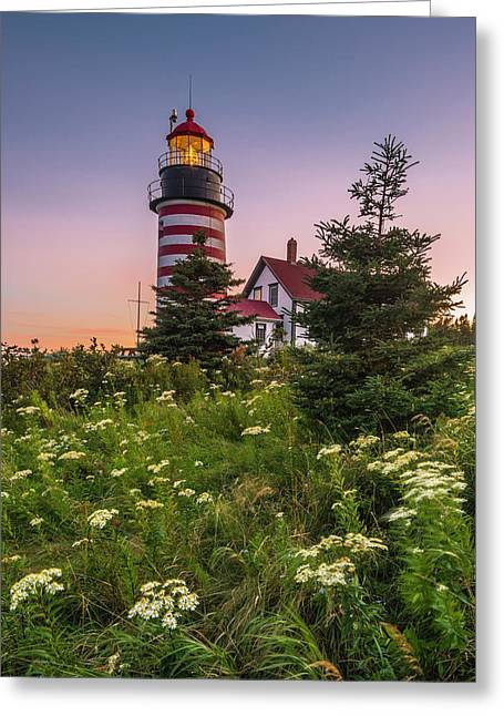 Maine West Quoddy Head Light At Sunset Greeting Card