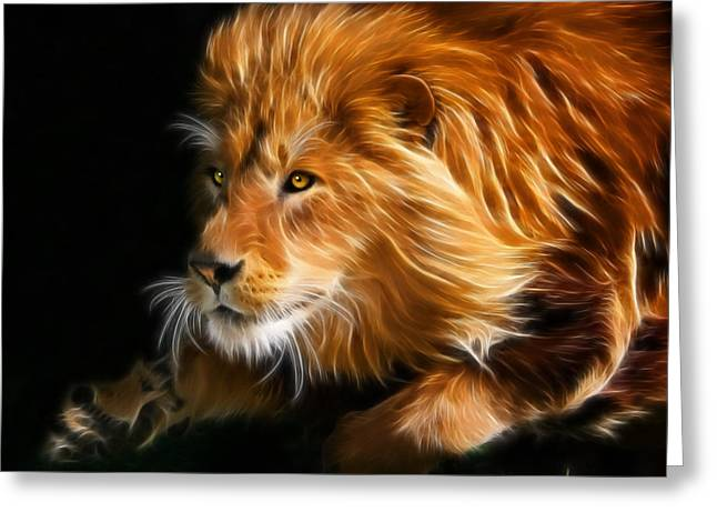 Lion Greeting Cards - Male Lion Fractal Greeting Card by Julie L Hoddinott