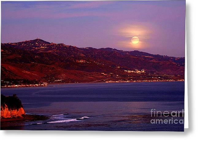 Malibu Moonrise Greeting Card by Marc Bittan