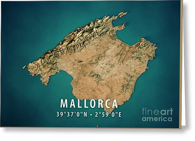 Mallorca Island 3d Render Satellite View Topographic Map Greeting Card by Frank Ramspott