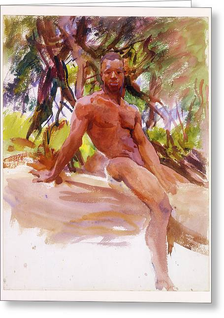 Man And Trees - Florida Greeting Card by John Singer Sargent