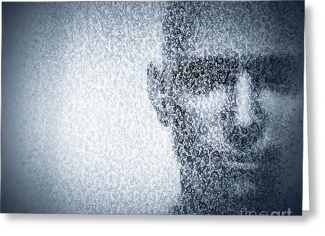 Man Face Blended With Binary Code Digits. Concept Of Hacker, Data Protection Etc. Greeting Card by Michal Bednarek