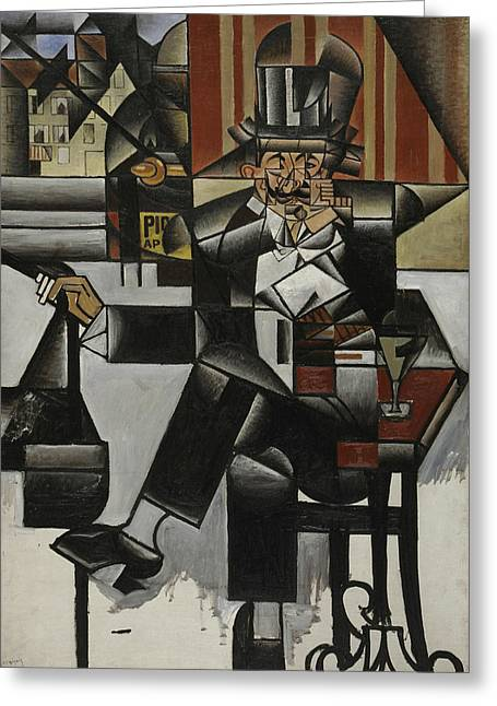 Man In A Cafe Greeting Card by Juan Gris