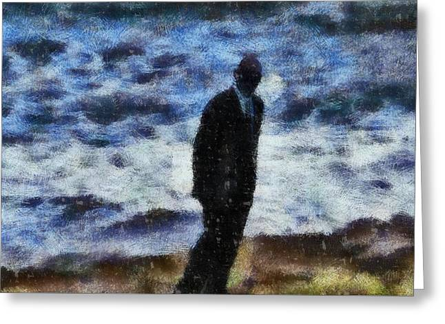 Man In Black Greeting Card by John Springfield