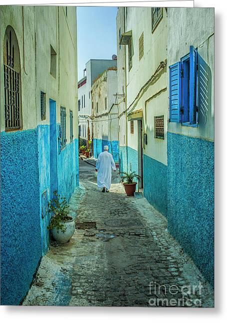Man In White Djellaba Walking In Medina Of Rabat Greeting Card