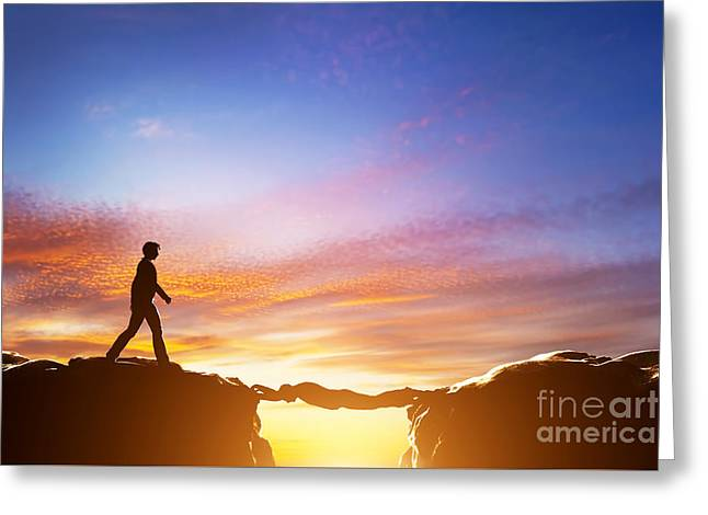 Man Walking Over Precipice Between Mountains And Another Man Being A Bridge Greeting Card