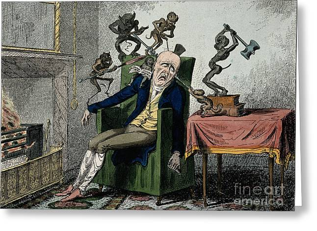 Man With Excruciating Headache, 1835 Greeting Card by Wellcome Images