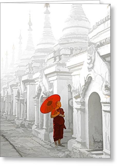 Mandalay Monk Greeting Card by Dennis Cox WorldViews