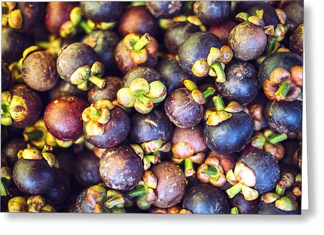 Mangosteen Rambutan And Mango Are One Of Delicious Thai Fruit Greeting Card by Eduardo Huelin