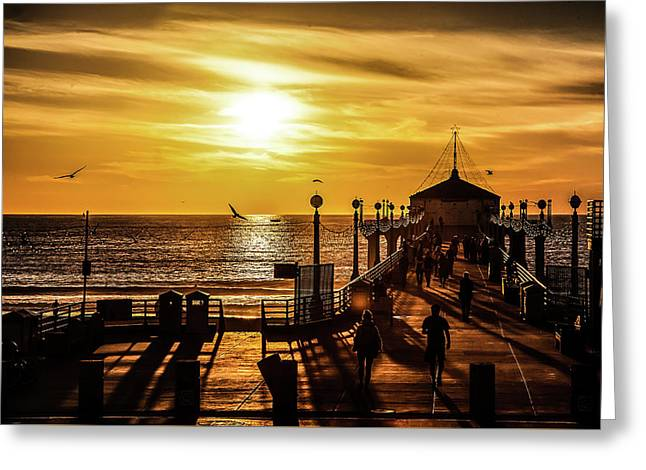 Pier Of Gold Greeting Card by April Reppucci