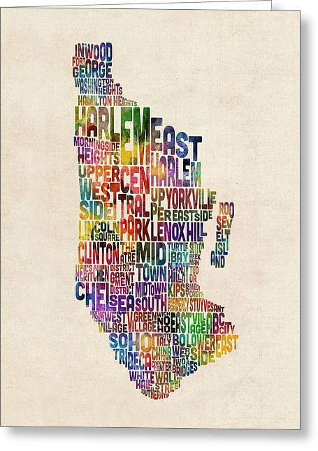 Manhattan New York Typographic Map Greeting Card