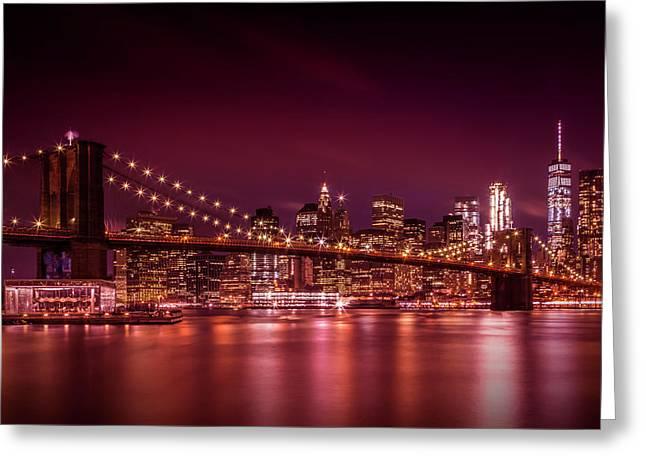 Manhattan Skyline And Brooklyn Bridge Sunset Greeting Card