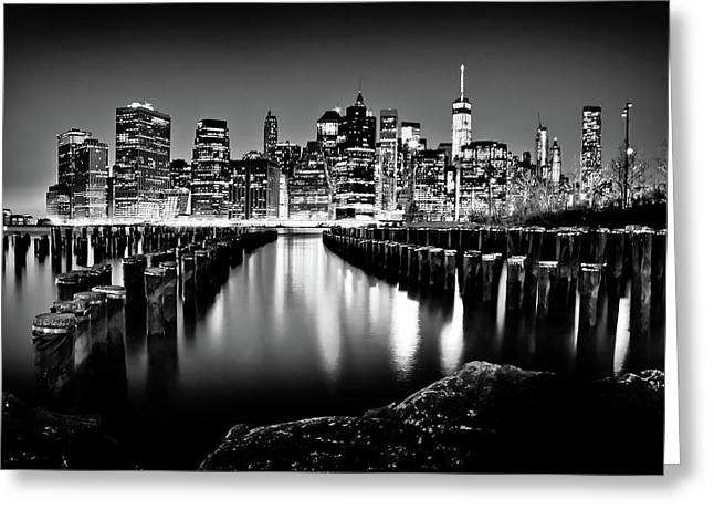 Manhattan Skyline At Night Greeting Card by Az Jackson
