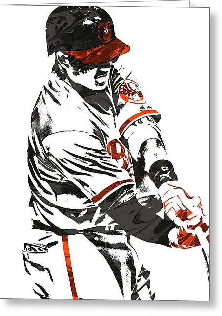 Manny Machado Baltimore Orioles Pixel Art Greeting Card by Joe Hamilton