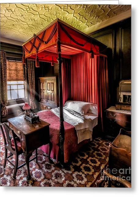 Mansion Bedroom Greeting Card by Adrian Evans