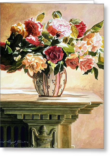 Mantlepiece Roses Greeting Card