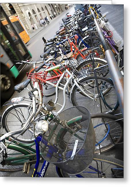 Many Bikes Greeting Card by Marilyn Hunt