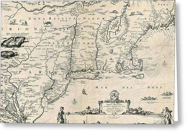 Map Of New Netherland, 1650s Greeting Card