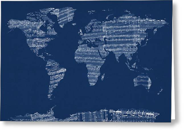World Map Canvas Greeting Cards - Map of the World Map from Old Sheet Music Greeting Card by Michael Tompsett