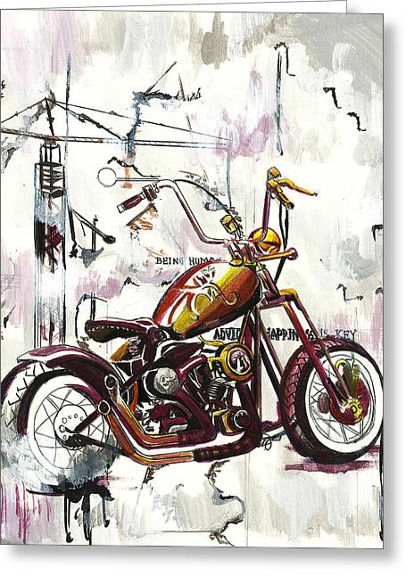 Mapped Motorcycle Greeting Card by Lauren Penha