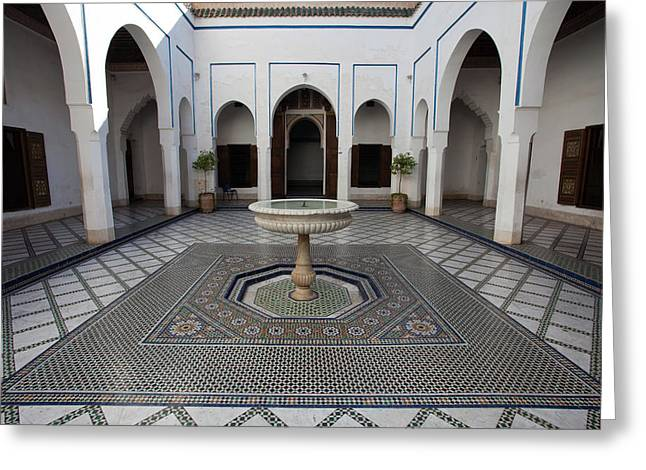 Marble-paved Courtyard In Bahia Palace Greeting Card