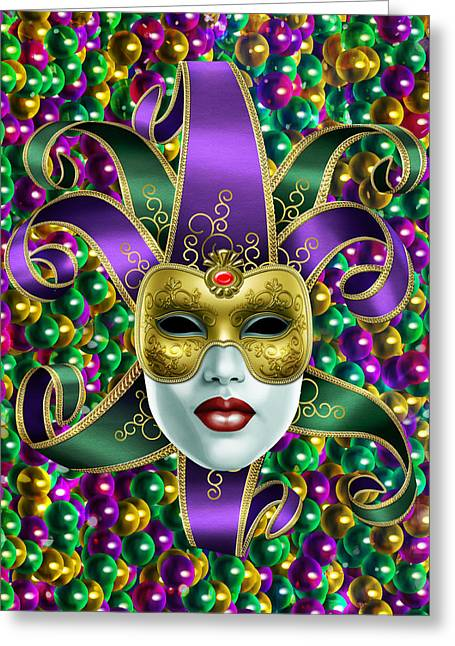 Mardi Gras Mask And Beads Greeting Card by Gary Crockett