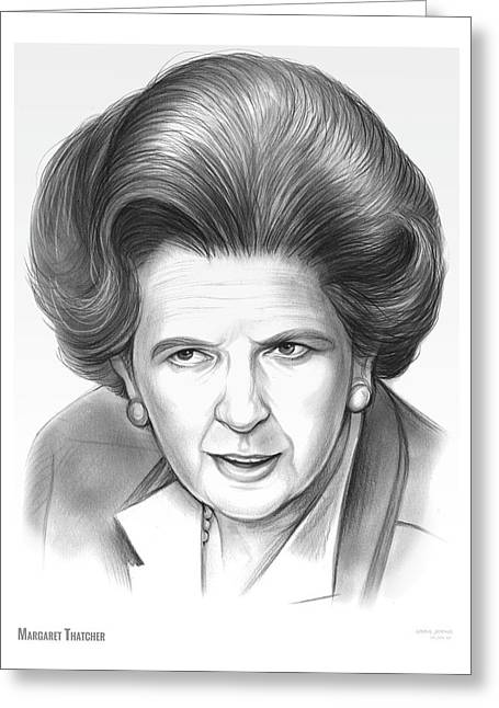 Margaret Thatcher Greeting Card by Greg Joens