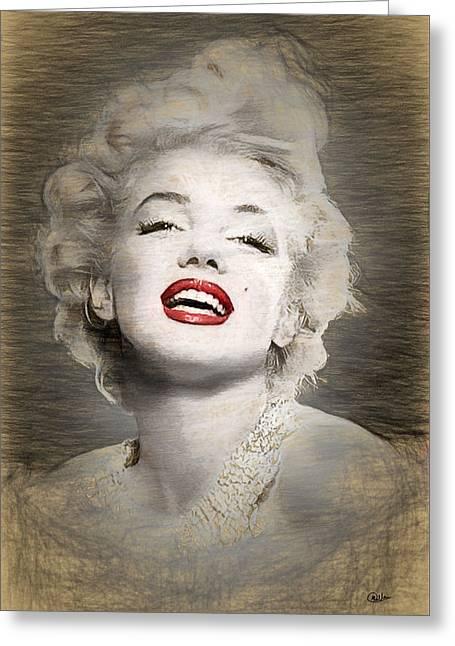 Marilyn Monroe Portrait Greeting Card by Quim Abella