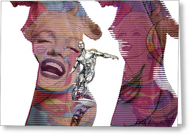 Marilyn Superwoman Silver Surfer Desaturated Greeting Card