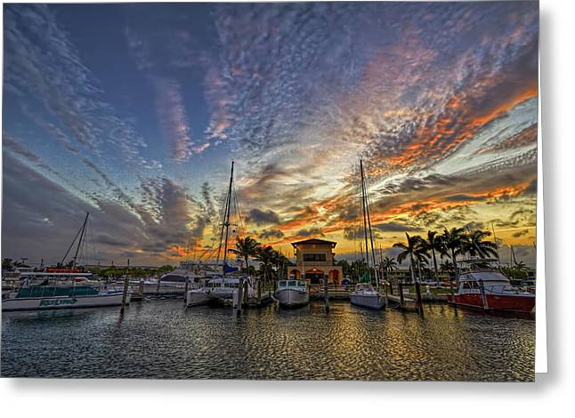 Marina Sunset Greeting Card by Island Photos