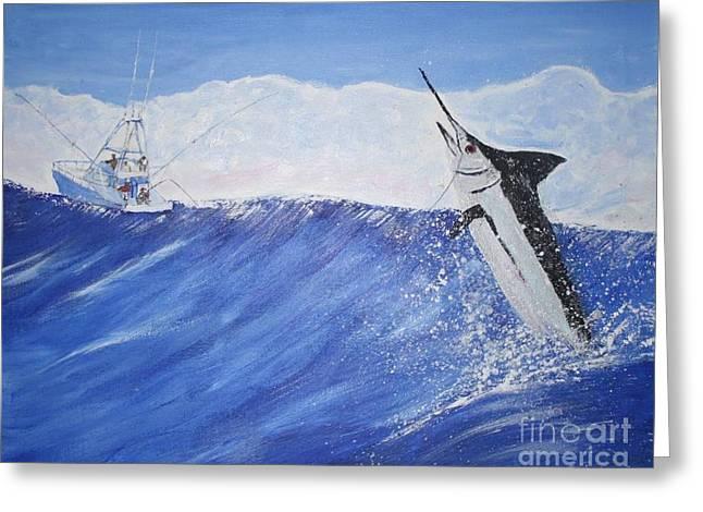 Marlin On Line Greeting Card by Bill Hubbard