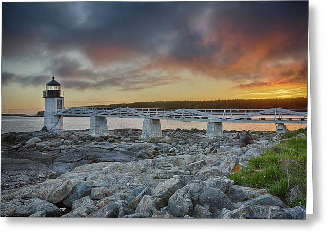 Marshall Point Lighthouse At Sunset, Maine, Usa Greeting Card