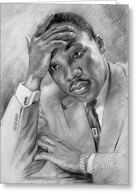 Martin Luther Jr Greeting Cards - Martin Luther King Jr Greeting Card by Ylli Haruni