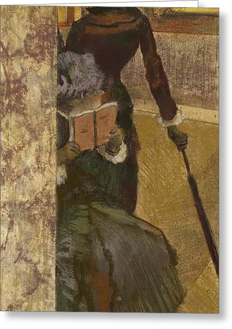 Mary Cassatt At The Louvre Greeting Card by Edgar Degas