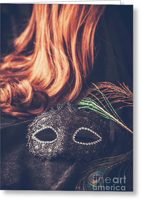 Mask With Wig Greeting Card