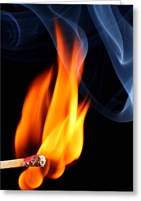 Ignition Greeting Cards - Matchstick bursting to flame Greeting Card by Pics For Merch