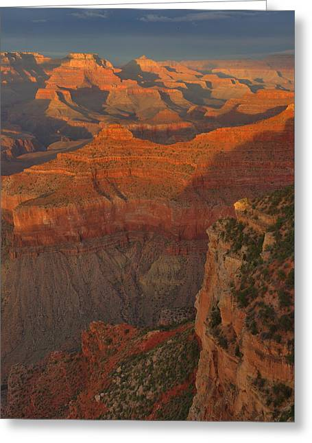 Greeting Card featuring the photograph Mather Point Sunset by Stephen  Vecchiotti