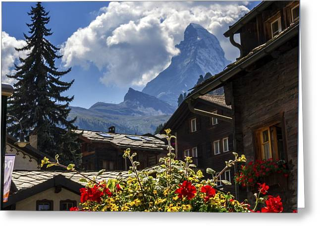 Matterhorn And Zermatt Village Houses, Switzerland Greeting Card