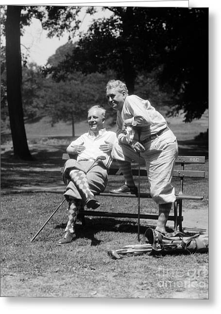 Mature Men Golfing, C.1930s Greeting Card by H. Armstrong Roberts/ClassicStock