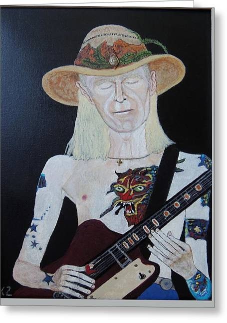 Mean Town Blues.johnny Winter. Greeting Card by Ken Zabel