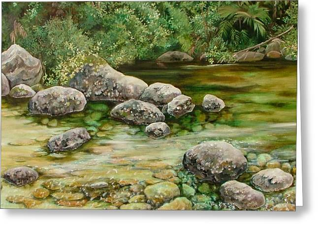 Meandering Stream Greeting Card by Val Stokes