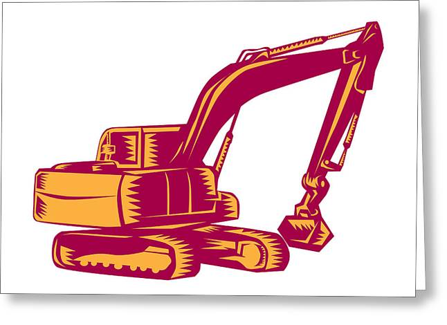 Mechanical Digger Excavator Woodcut Greeting Card by Aloysius Patrimonio